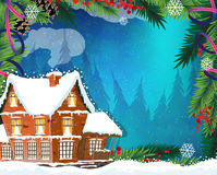 Christmas House in winter forest Royalty Free Stock Photo