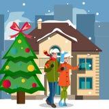 Christmas houses and people Stock Photography