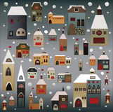 Christmas houses set Royalty Free Stock Photography