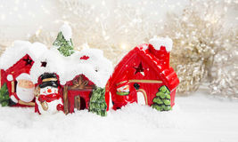 Christmas Houses in the Snow Royalty Free Stock Photo