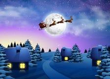 Christmas houses in snowfall night full moon. Beautiful Fir Tree Royalty Free Stock Image
