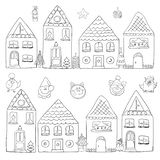 Christmas houses with the symbol of the new year royalty free illustration