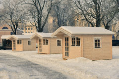 Christmas houses in winter time Royalty Free Stock Photos