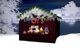 Christmas hut in nocturnal winter landscape with toy and a chris. Tmas fairy. 3d rendering Stock Photography