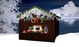 Christmas hut in nocturnal winter landscape with toy and a chris. Tmas fairy. 3d rendering Stock Photos