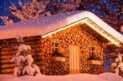 Christmas hut snow stock photography