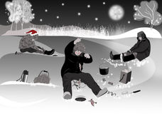 Christmas, ice fishing. In Siberia Stock Photo
