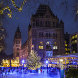 Christmas Ice Rink at the Natural History Museum in London Royalty Free Stock Images