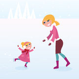 Christmas ice skating: Mother and daughter on ice. Mother carying about her small girl by ice skating. Vector Illustration Stock Image
