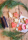 Christmas iced biscuits Stock Images
