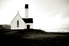 Christmas in Iceland. Small white church by seaside, december, Iceland Stock Images