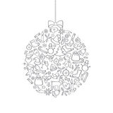 Christmas icon background with Ball Doodle Decor Elements. Happy Winter Stock Images
