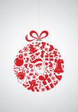 Christmas Icon Bauble. A bold Christmas bauble illustration composed of stylized Christmas symbols Royalty Free Stock Images