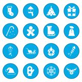 16 christmas icon blue. 16 christmas simple icon blue isolated vector illustration Stock Illustration