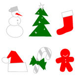 Christmas icon and design elements Stock Photos