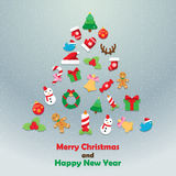 Christmas icon fir tree background. And card xmas icon snow background Stock Photo