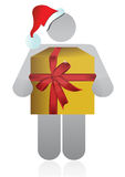 Christmas icon holding a present Royalty Free Stock Image