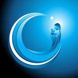 Christmas icon of Mary with baby Jesus. Beautiful cool tranquil blue curved Christmas icon of Mary cradling the baby Jesus in her arms with a glowing halo and Royalty Free Stock Photography