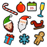 Christmas icon patch set of holiday decoration Royalty Free Stock Images