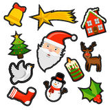 Christmas icon patch set of holiday decoration Stock Images