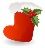 Christmas icon Santa boot with holly Royalty Free Stock Photo