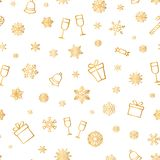 Christmas icon seamless pattern Winter Holiday snow background. Christmas icons seamless pattern, Happy Winter Holiday tile background. Doodle outline ornamental vector illustration