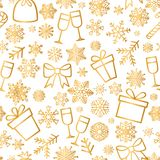 Christmas icon seamless pattern Winter Holiday snow background. Christmas icons seamless pattern, Happy Winter Holiday tile background with New Year Tree, Snow stock illustration