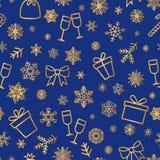 Christmas icon seamless pattern Winter Holiday snow background. Christmas icons seamless pattern, Happy Winter Holiday tile background with New Year Tree, Snow royalty free illustration