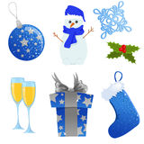 Christmas icon set. Set of blue and silver Christmas icons Royalty Free Stock Images