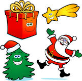 Christmas icon set. With Santa Claus, Christmas tree, gift and star Vector Illustration