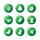 Christmas icon set. Green vector icons with christmas symbols Royalty Free Stock Photography