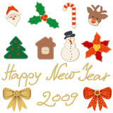 Christmas icon set. Clip art on the Christmas and New year theme. Icons made in style, like its were sewed from felt Stock Photo