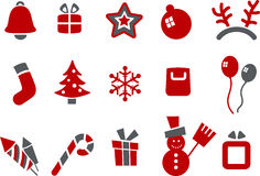 Christmas Icon Set. Vector icons pack - Red Series, Christmas collection Royalty Free Stock Images