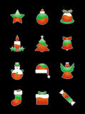 Christmas Icon Set On Black. 3-colored green-red-white Christmas icons suitable for black or dark backgrounds. From left to right: star, christmas tree ornament vector illustration