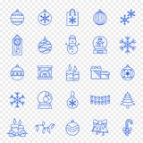 Christmas Icon set - 25 Blue Xmas and New Year icons vector illustration