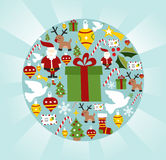 Christmas icon set in circle shape Stock Photos