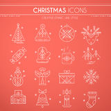 Christmas icon set. Collection of creative line style design elements. Minimalistic outlined winter holidays signs. Monochrome Stock Photo