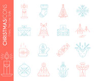 Christmas icon set. Collection of creative line style design elements royalty free illustration