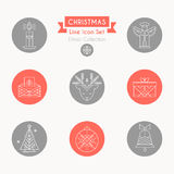 Christmas icon set. Collection of creative line style design elements stock illustration