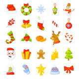 Christmas Icon Set Collection Vector. cartoon. New year traditional symbols. icons objects.  Royalty Free Stock Photo