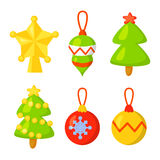 Christmas Icon Set Collection Vector. cartoon. New year traditional symbols . and icons objects.  decorations Royalty Free Stock Photos