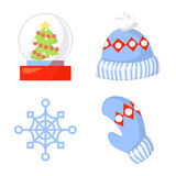 Christmas Icon Set Collection Vector. cartoon. New year traditional symbols . and icons objects. Hats, mittens Stock Image