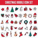 Christmas icon set in color. Vector doodle illustration . Design element hand drawn. Royalty Free Stock Images