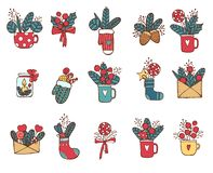 Christmas icon set in color. Vector doodle illustration isolated. Design element hand drawn style for your design. royalty free illustration