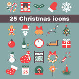 Christmas icon. Set of colored flat icons for the new year Stock Images