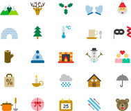 Christmas icon set. Set of colorful flat icons relating to Christmas Royalty Free Stock Photos
