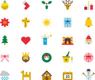 Christmas icon set. Set of colorful flat icons relating to Christmas holiday Royalty Free Stock Photo