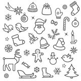 Christmas icon set. Doodle Christmas holiday decorative design e Royalty Free Stock Image