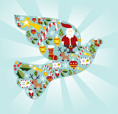 Christmas icon set in dove of peace shape Royalty Free Stock Photo