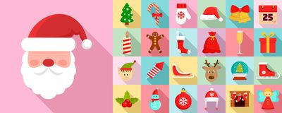 Christmas icon set, flat style vector illustration